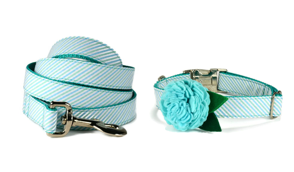Seaside Seersucker Bloom Dog Collar and Leash Set w/ Aqua Bloom