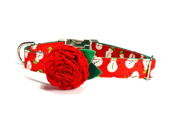 Snowman Bloom Dog Collar