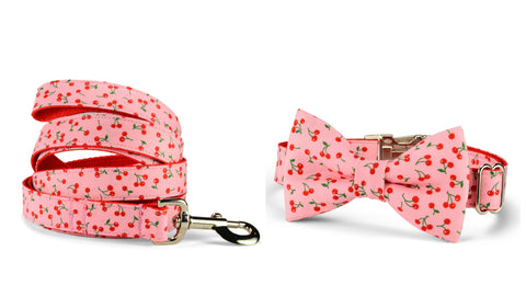 New! Sweet Cherries Bow Tie Collar and Leash Set