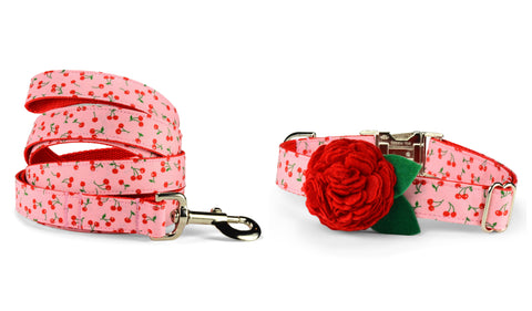 New! Sweet Cherries Bloom Collar and Leash Set w/ Red Bloom