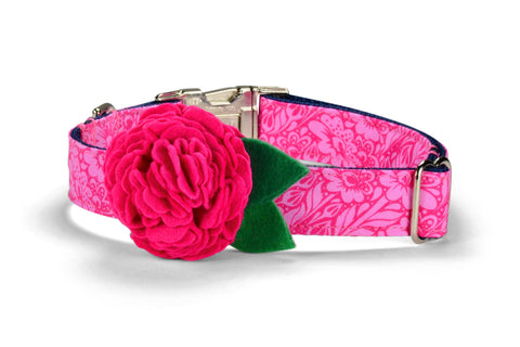 Talula Belle Bloom Dog Collar w/ Fuchsia Bloom