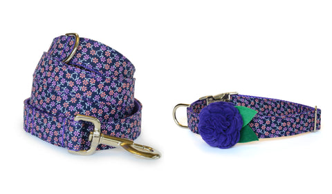 The Fiona Bloom Collar and Leash Set w/ Purple Bloom