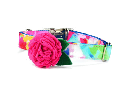 The Monet Bloom Dog Collar w/ Fuchsia Bloom