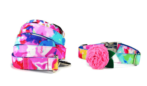 The Monet Bloom Collar and Leash Set w/ Carnation Bloom