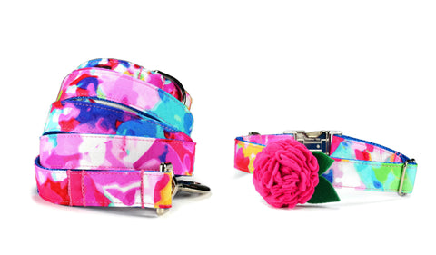 The Monet Bloom Collar and Leash Set w/ Fuchsia Bloom