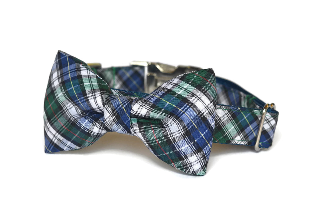 The Nantucket Plaid Bow Tie Dog Collar