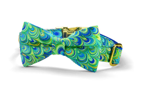 The Peacock Bow Tie Dog Collar w/ Gold Hardware