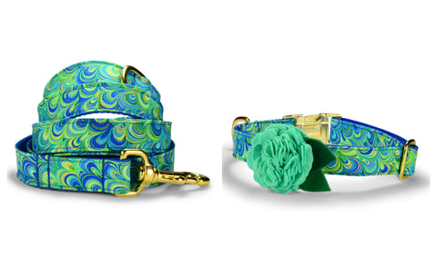 The Peacock Bloom Collar and Leash Set w/ Gold Hardware