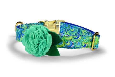 The Peacock Bloom Dog Collar w/ Mint Bloom and Gold Hardware