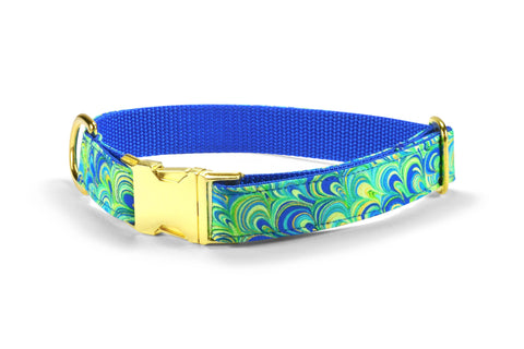 The Peacock Dog Collar w/ Gold Hardware