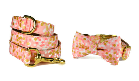 The Stella Bow Tie Collar and Leash Set w/ Gold Hardware