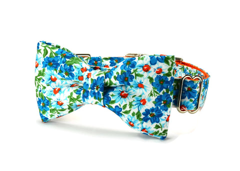 Turquoise Floral Bow Tie Dog Collar