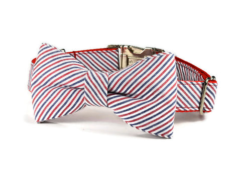 Americana Seersucker Bow Tie Collar and Leash Set