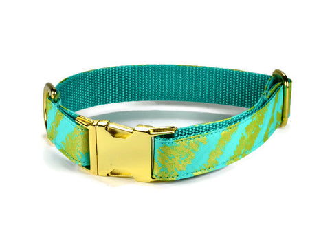 Mint Bliss Bow Tie Collar and Leash Set w/ Gold Hardware
