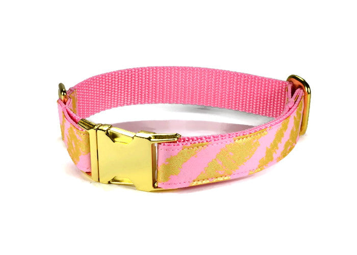 Pink Bliss Dog Collar w/ Gold Hardware