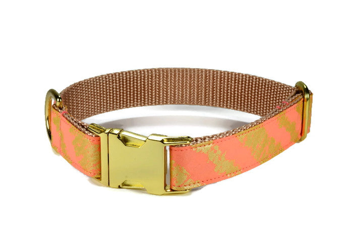 Coral Bliss Dog Collar w/ Gold Hardware