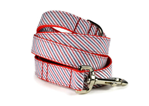 Americana Seersucker Dog Leash