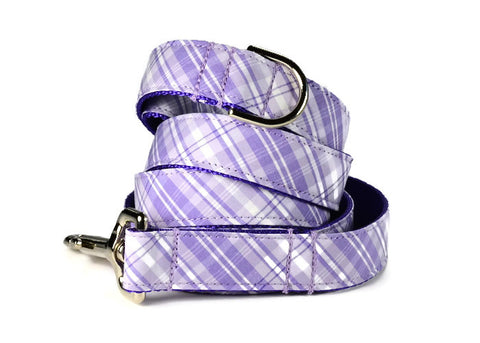 Lavender Plaid Bow Tie Collar and Leash Set