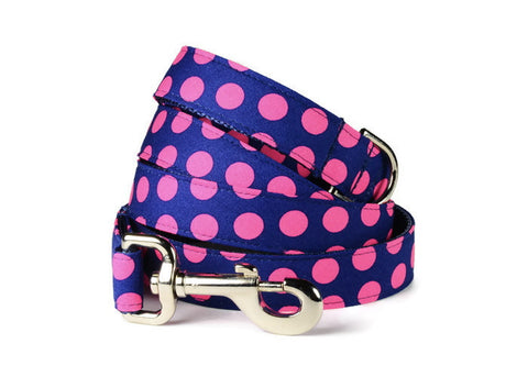 Navy And Pink Polka Dot Bow Tie Collar and Leash Set