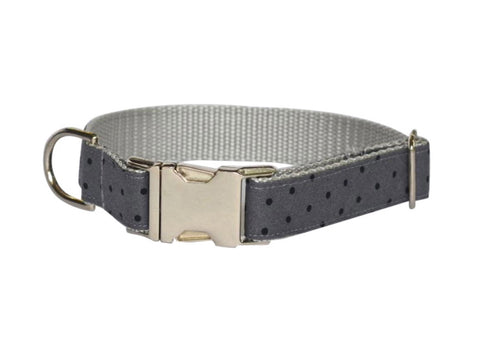 Gray And Black Polka Dot Bow Tie Collar and Leash Set
