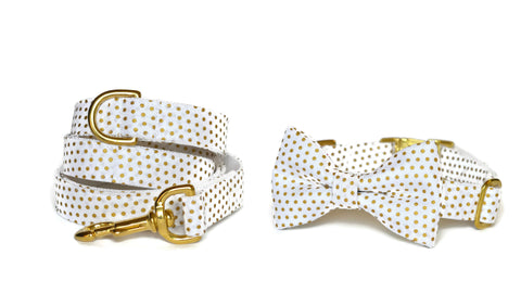 White And Gold Polka Dot Bow Tie Collar and Leash Set w/ Gold Hardware