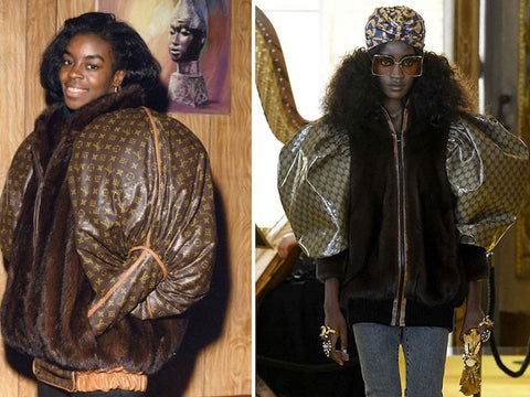 Pictured on the left is Diane Dixon wearing the Dapper Dan original jacket. On the right is Gucci's version inspired by Dapper Dan for the 'New Renaissance' Cruise line 2018.
