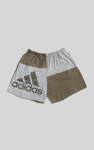 Rework Adidas Patchwork Tee Shorts  - L