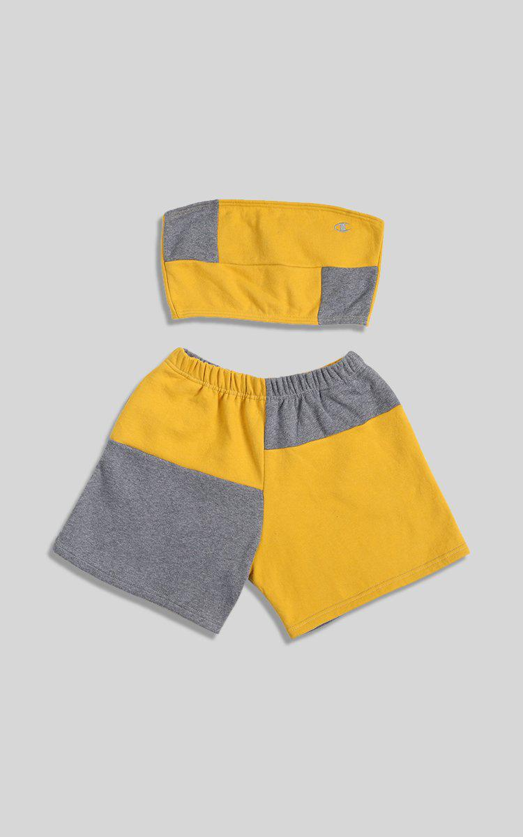 Vintage Rework Champion Patchwork Sweatshorts Set - L