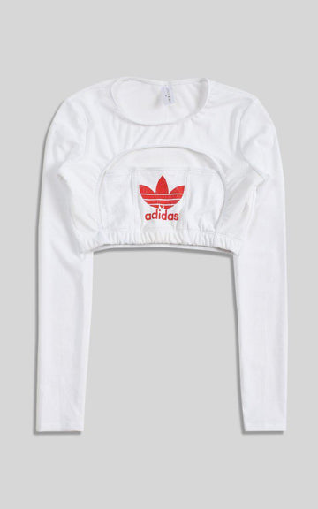 Vintage Rework Adidas Cut Out Long Sleeve Tee - M