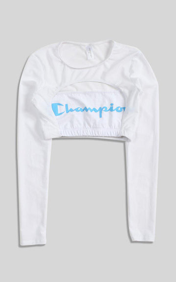 Vintage Rework Champion Cut Out Long Sleeve Tee - M