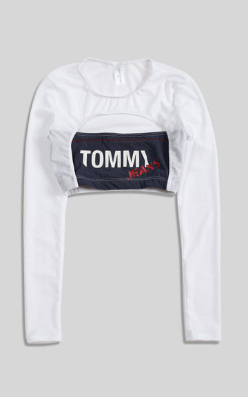 Vintage Rework Tommy Cut Out Long Sleeve Tee - S