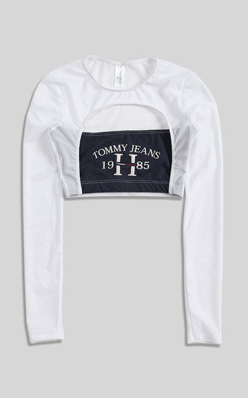 Vintage Rework Tommy Cut Out Long Sleeve Tee - XS