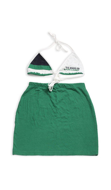 Vintage Rework Polo Skirt Set - M