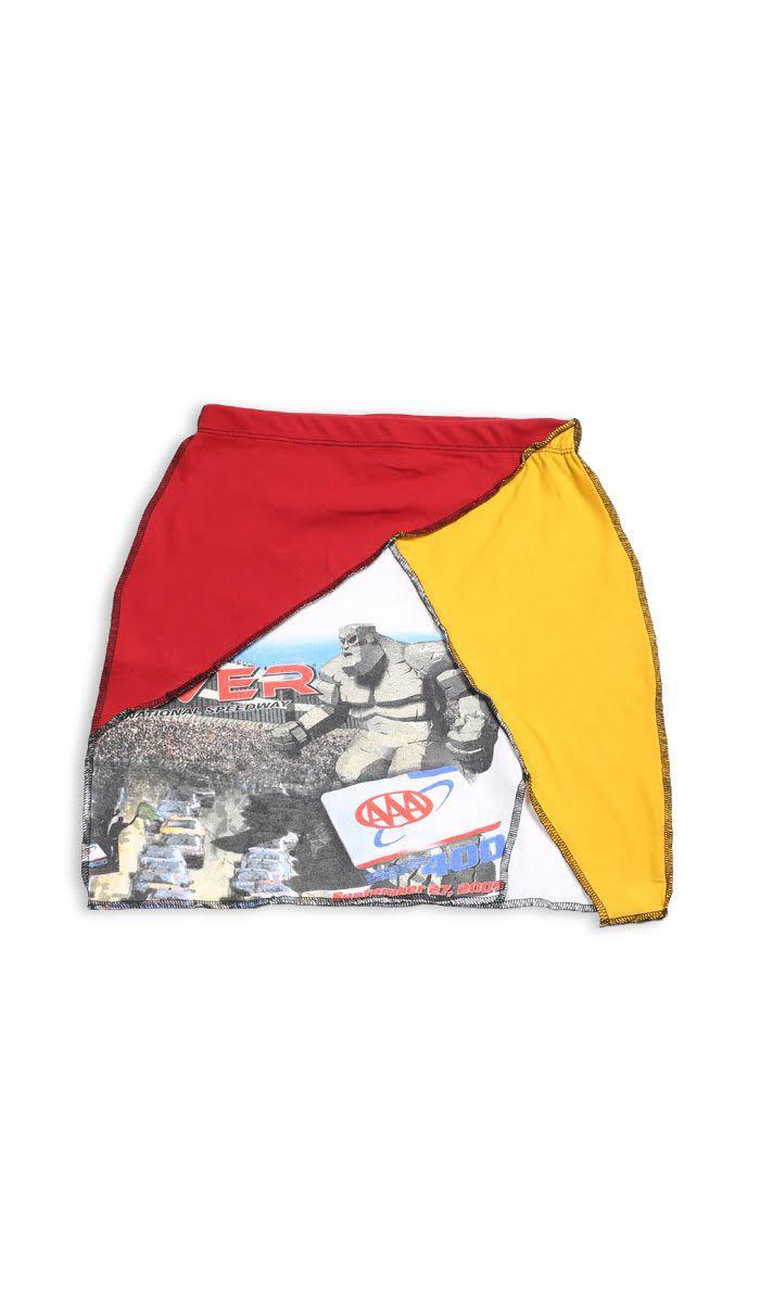 Vintage Rework Racing Patchwork Skirt - S