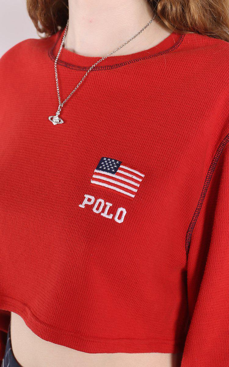 Vintage Polo Crop Long Sleeve Tee
