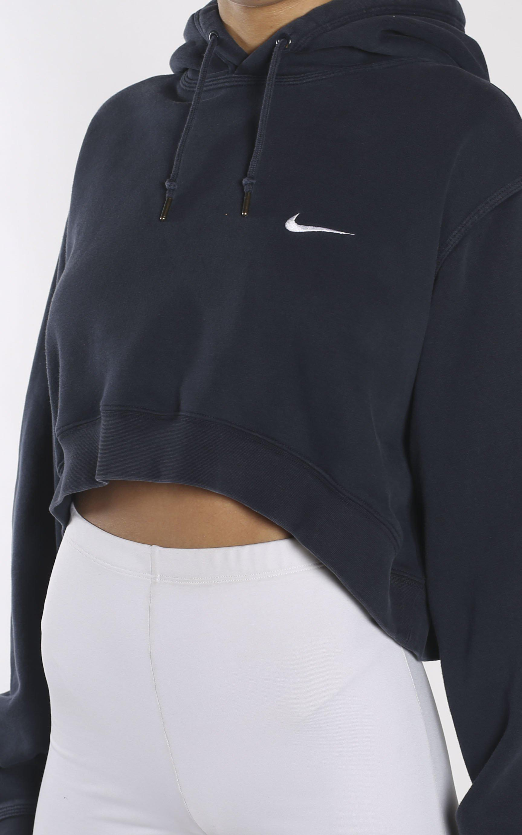 QUEENS | Vintage Reworked Nike Zip Up Crop hoody grey | Nike