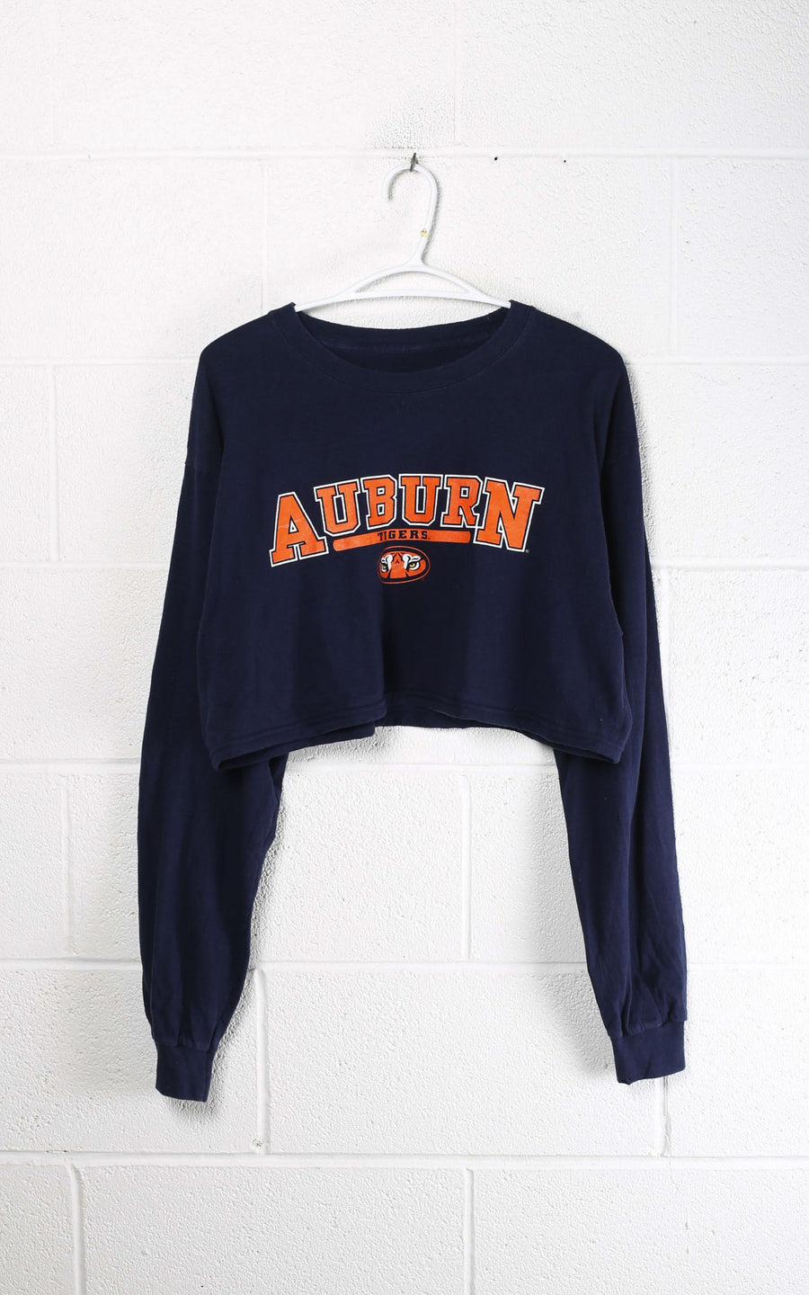 Vintage Auburn Crop Long Sleeve Tee