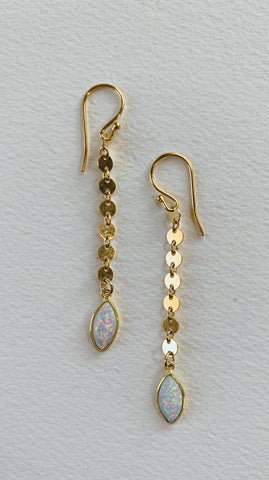 Marquis Opal Disc Earrings