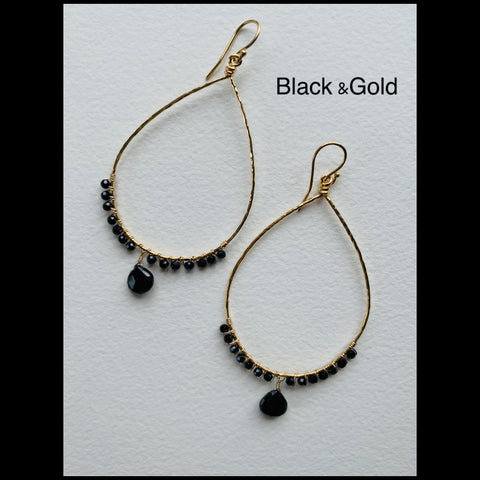 Black and Gold teardrop Hoops