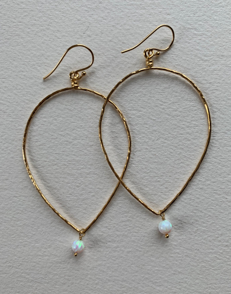 Open Leaf Opal Hoops