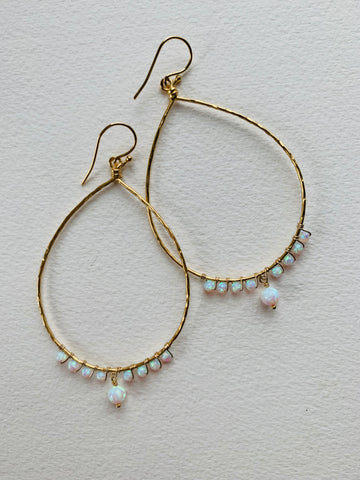 Multi-Opal Teardrop Hoops