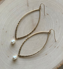 Pearl Drop Marquis Hoops