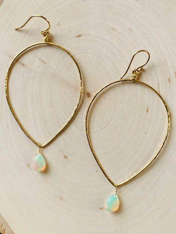 Open Heart  Opal Hoops