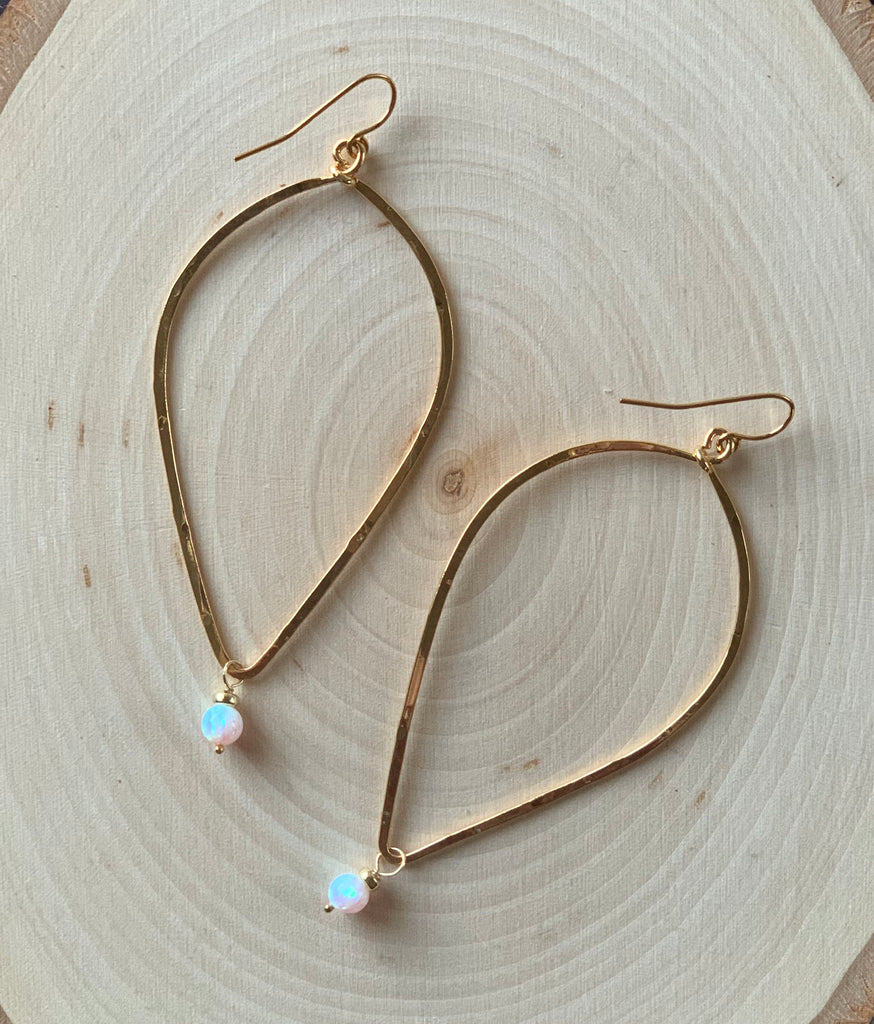 Slim Leaf Opal Earrings