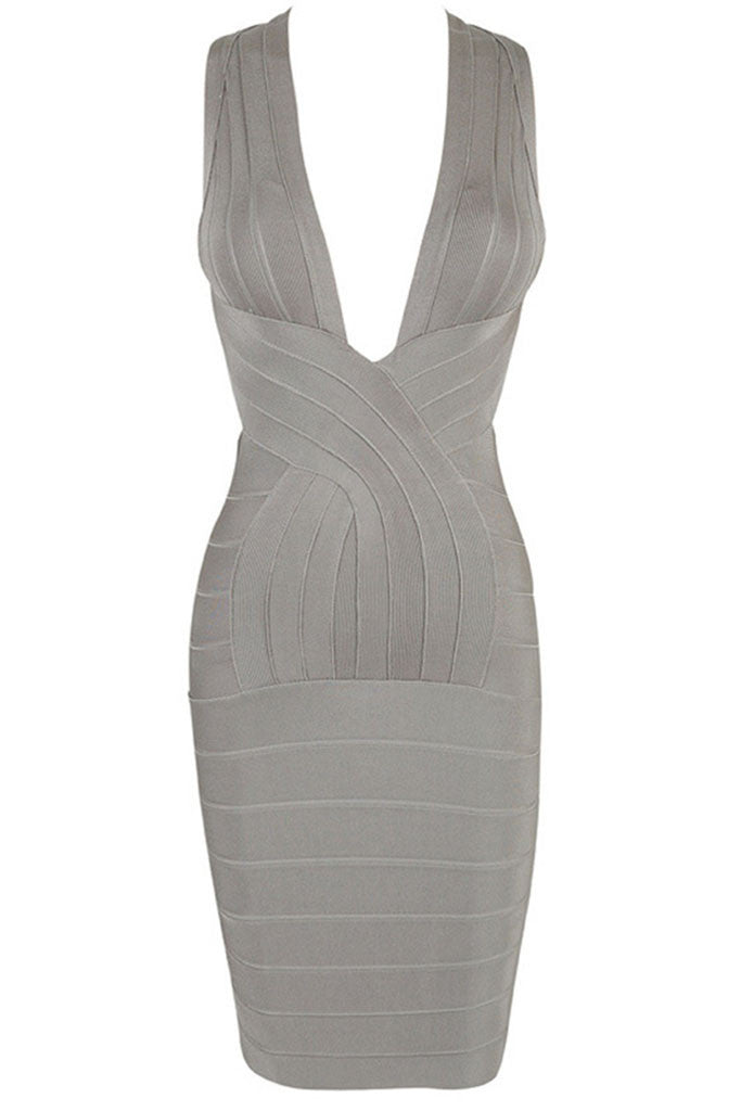 Bombshell - Bandage Mini Dress - Grey