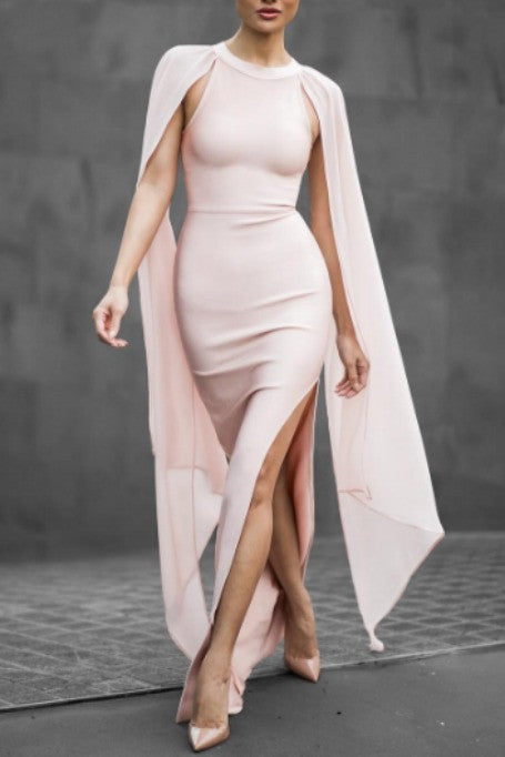 Just Go With The Flow - Maxi Bandage Dress - Blush