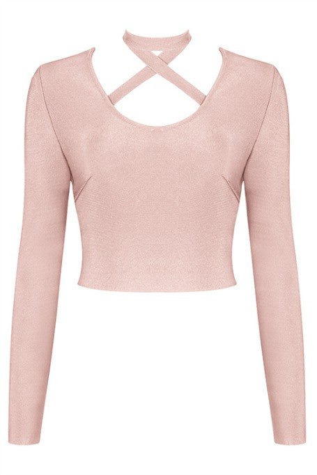 X Yourself - Bandage Long Sleeve Top - Blush