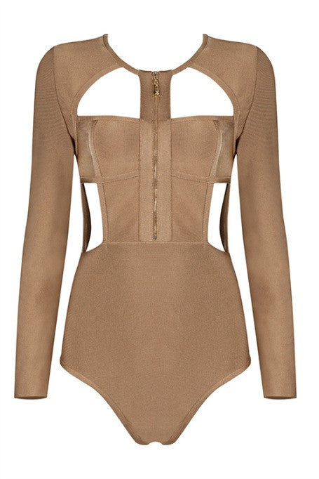 Dive Right In - Bandage Bodysuit - Tan
