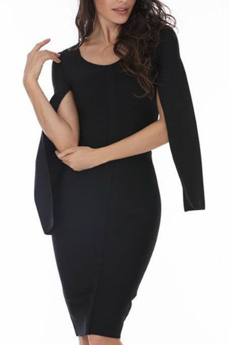 Cape Girl - Cape Sleeve Bandage Dress - Black