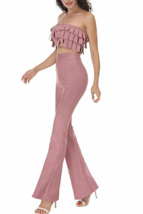 Fringe Takeover - Bandage Two Piece Pants Set